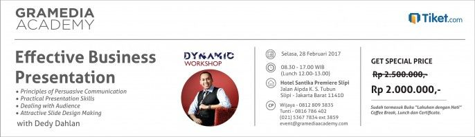 harga tiket Dynamic Workshop With Dedy Dahlan 2017